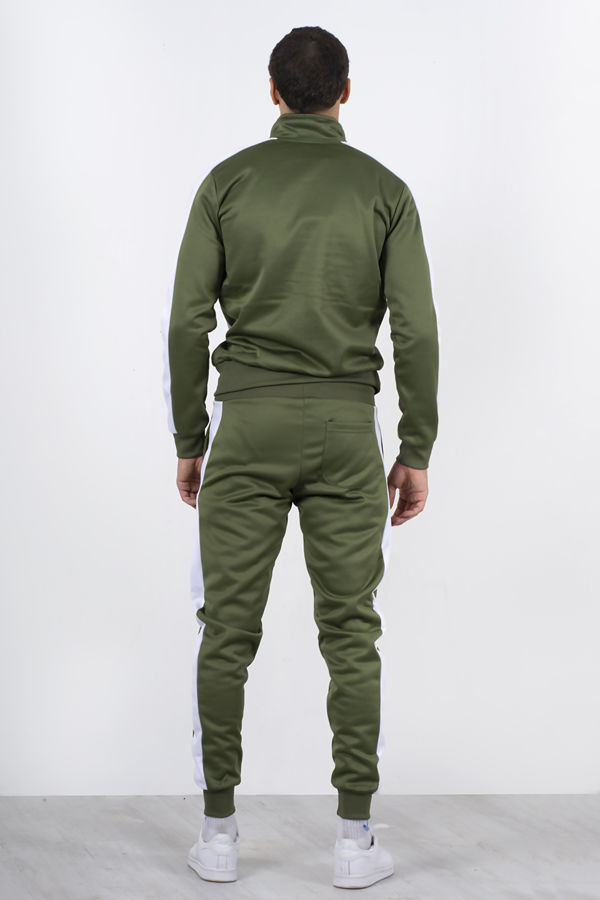 Khaki Two Tone Zip Through Funnel Tracksuit