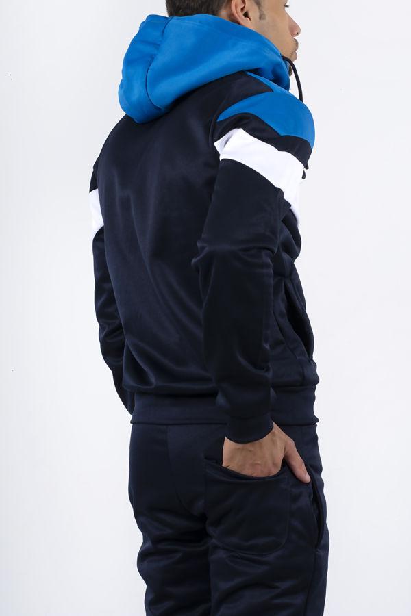 Navy Colourblock Chevron Hooded Skinny Tracksuit