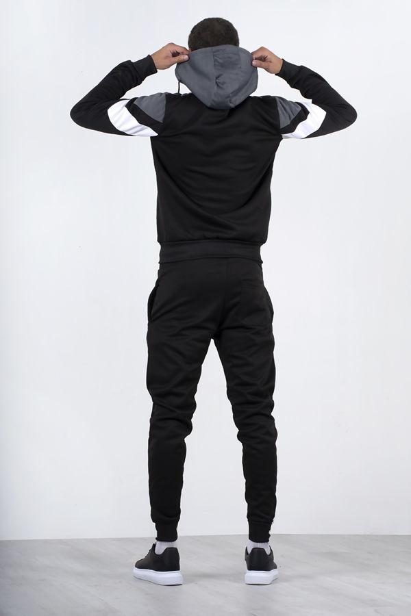 Black Colourblock Chevron Hooded Skinny Tracksuit