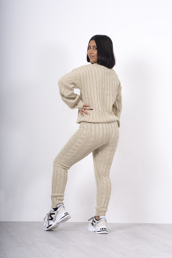 Beige Cable Knit Long Sleeve Cropped Top And Legging Lounge Set