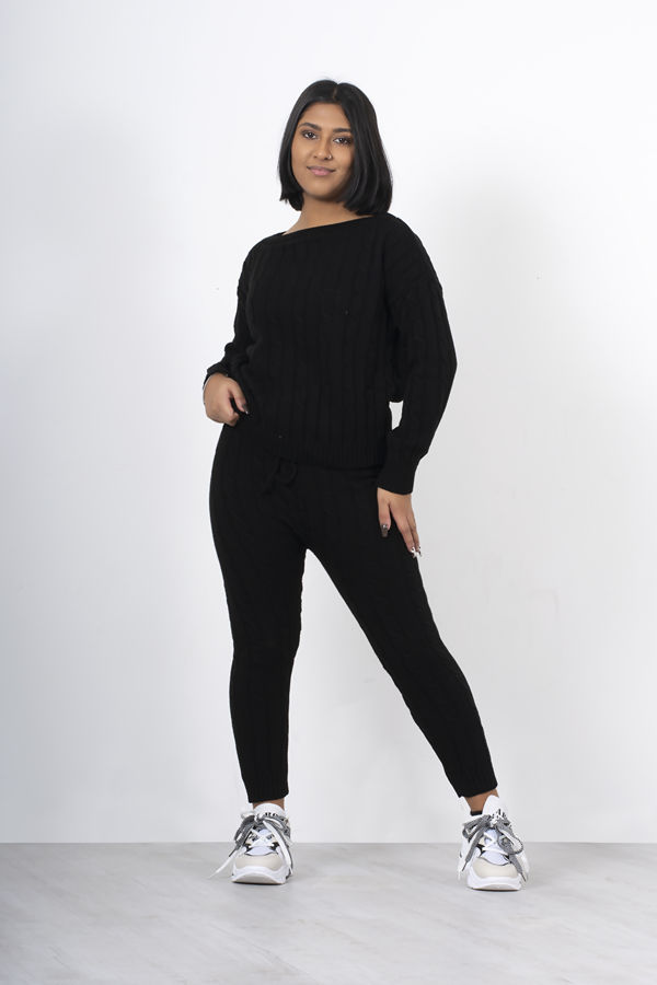 Black Cable Knit Long Sleeve Cropped Top And Legging Lounge Set