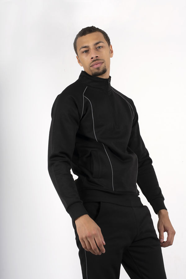 Black Skinny Fit Pullover Tracksuit With Reflective Piping