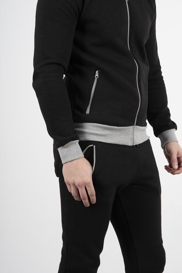 Black With Grey Contrast Zip Up Tracksuit