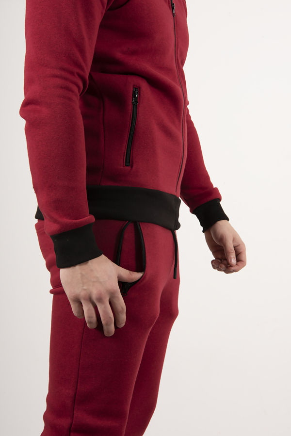 Wine With Black Contrast Zip Up Tracksuit