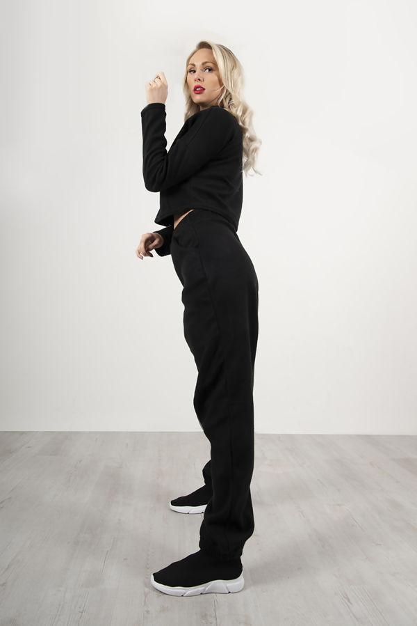 Black Super Soft Fleece Lounge Sweat and Jogger Set
