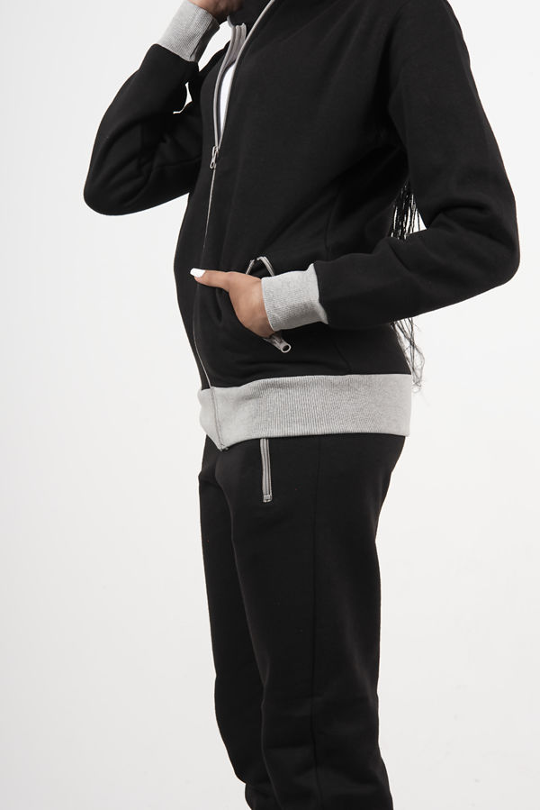 Black Zip Up Tracksuit With Contrast Detail