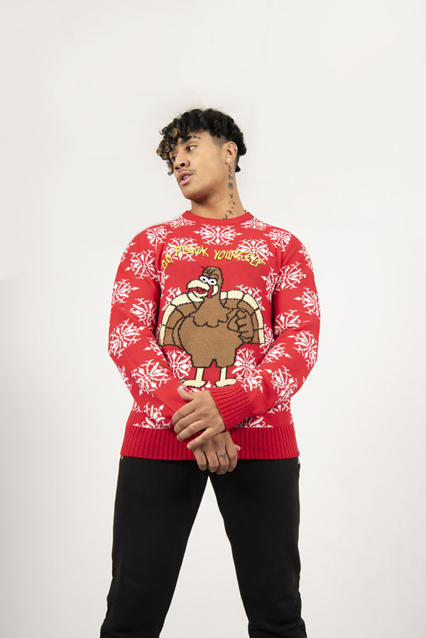 Red Turkey Slogan Christmas Jumper