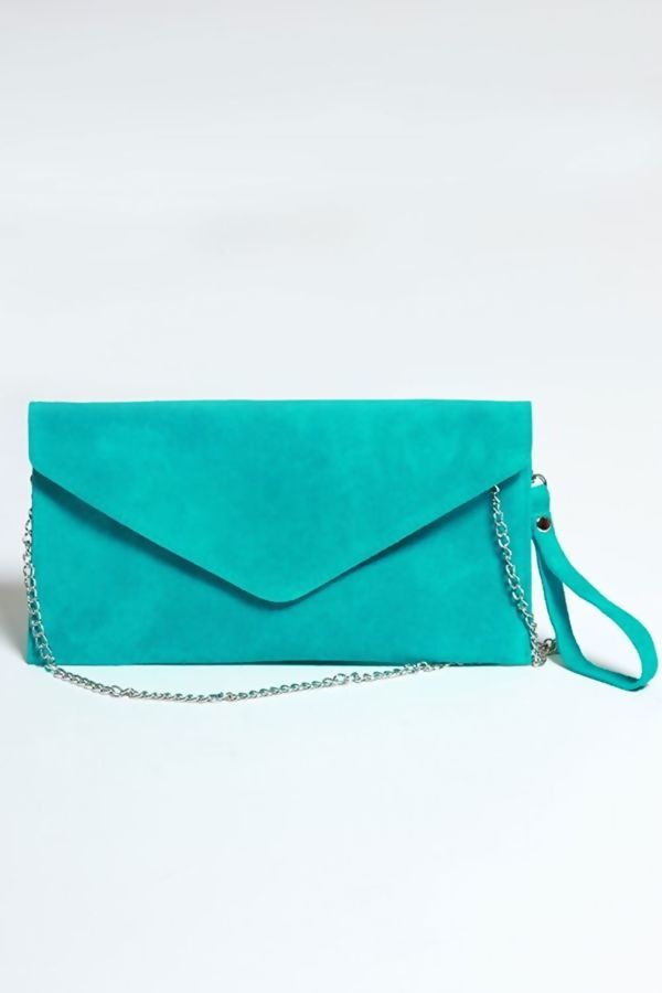 Turq Suede Envelope Clutch Bag
