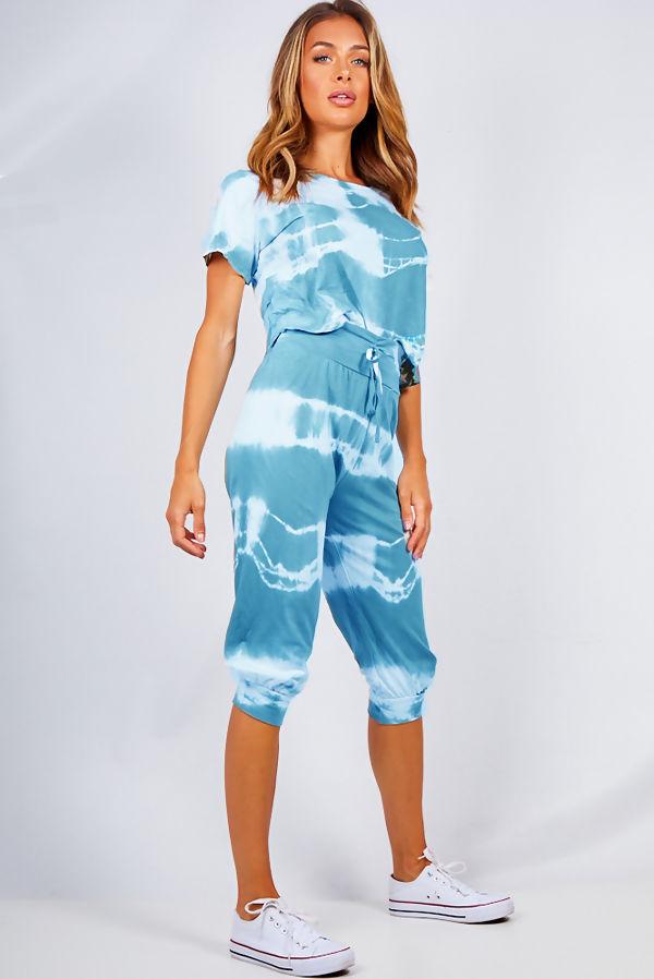 Turquoise Tie Dye Crop Top And Harem Cap Set