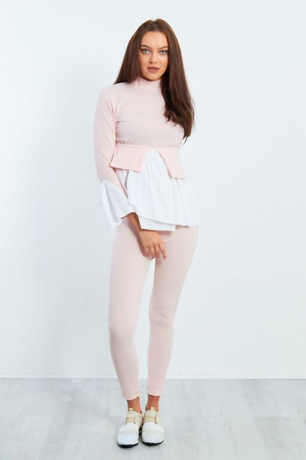 Two Tone Frill Hem Top and Legging Co-Ord Set