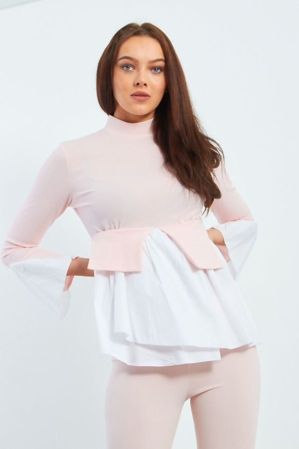 Two Tone Frill Shirt Hem Top