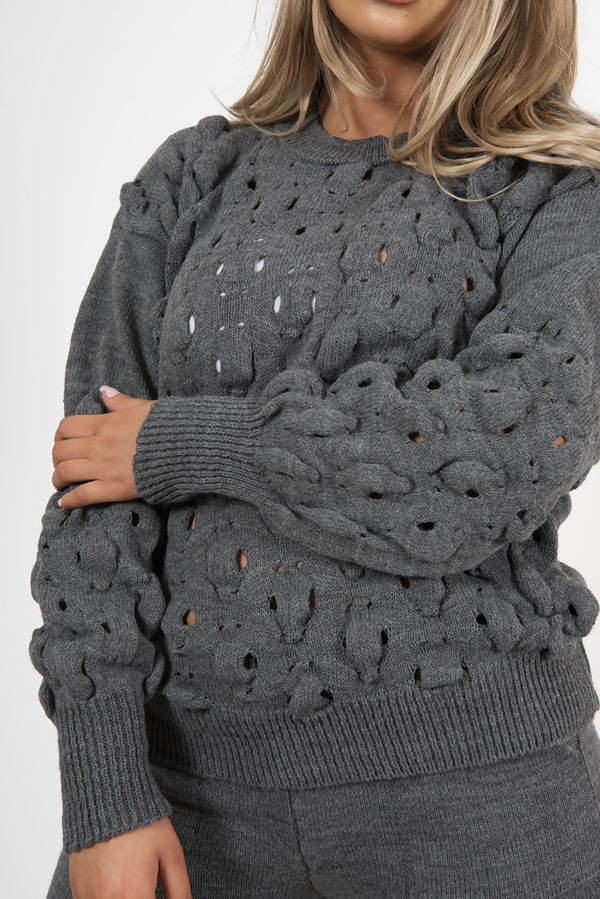 Charcoal Knitted Bubble Lounge Set