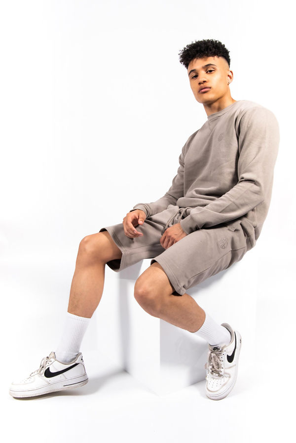 Taupe Basic Sweatshirt And Shorts Set
