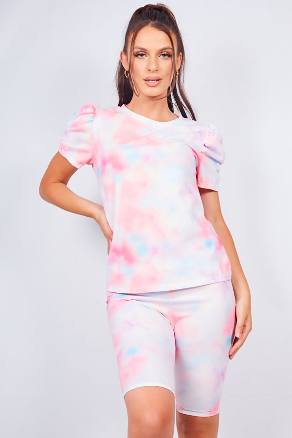 Tie Dye Ruched Sleeve Top And Shorts Lounge Set