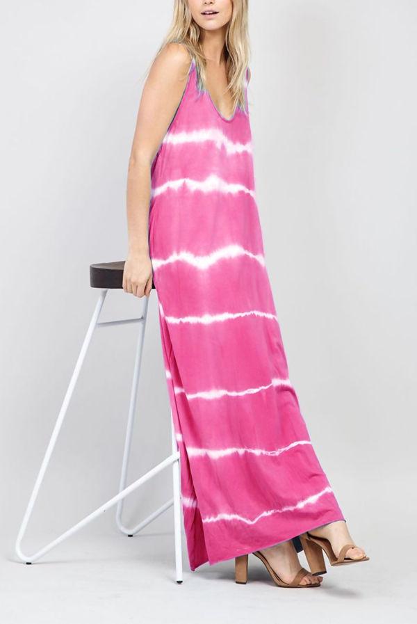 Tie Dye Strappy Maxi Dress