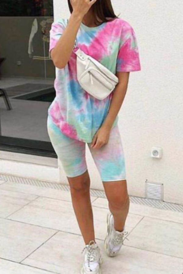 Tie Dye Tee and Cycling Shorts Set Mix Colour