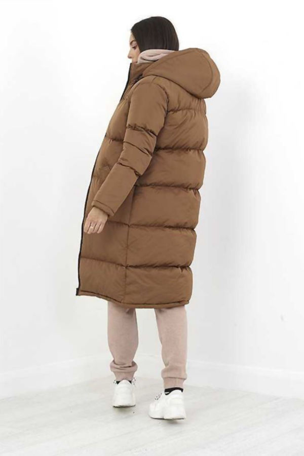 Toffee Longline Hooded Puffer Coat Pre Order