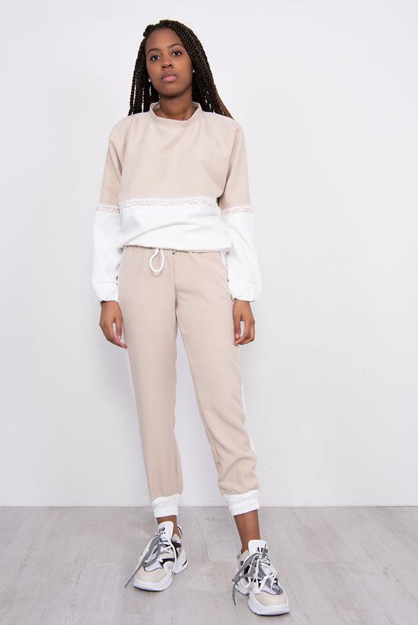 Two Tone Lace Trim Jogger Loungewear Set