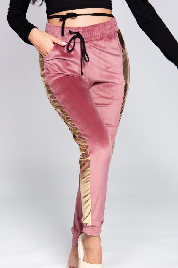 Velour Loungewear Joggers With Side Stripe