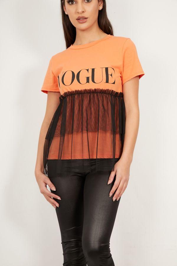 Vogue Mesh Overlay Tee