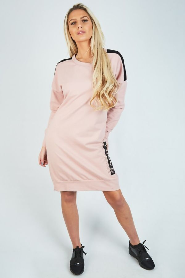 Pink with White Vogue Sweat Shirt Dress