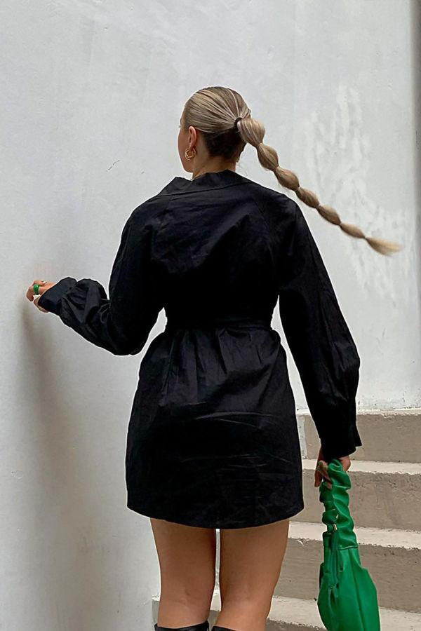 Volume Sleeve Shirt Dress With Corset Belt