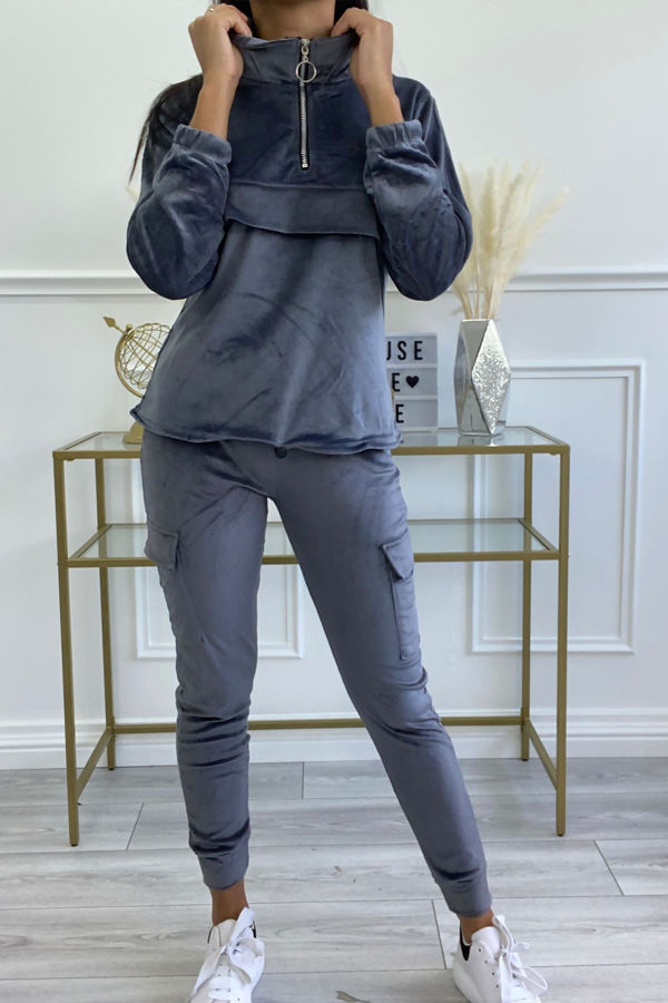 Velvet Zip Drawstring Top and Cargo Joggers Tracksuit