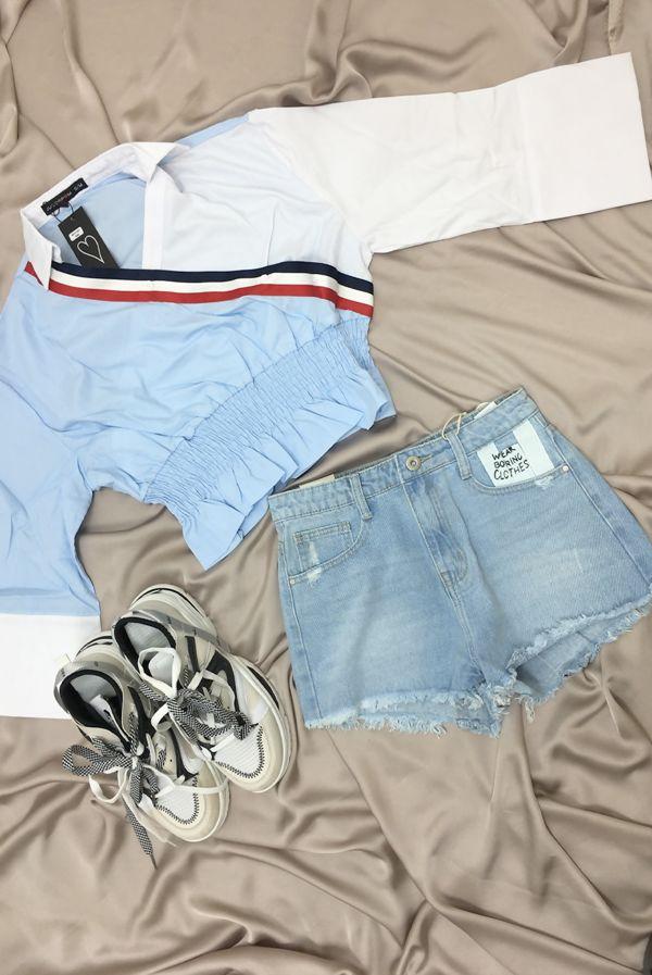 Baby Blue Diagonal Stripe Shirred Waist Top