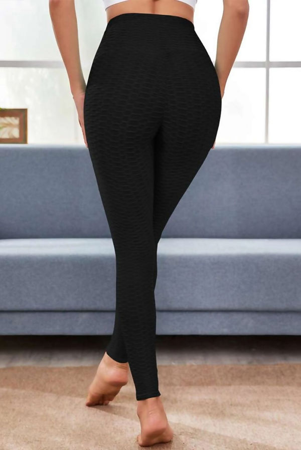 Waffle Textured Rouched Bum Gym Leggings