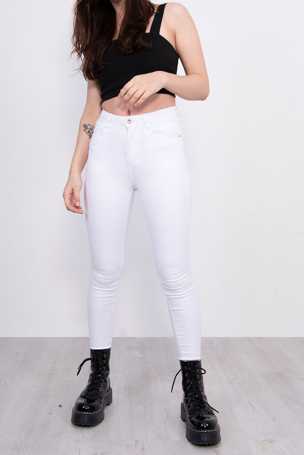 White 5 Pocket Skinny Jeans
