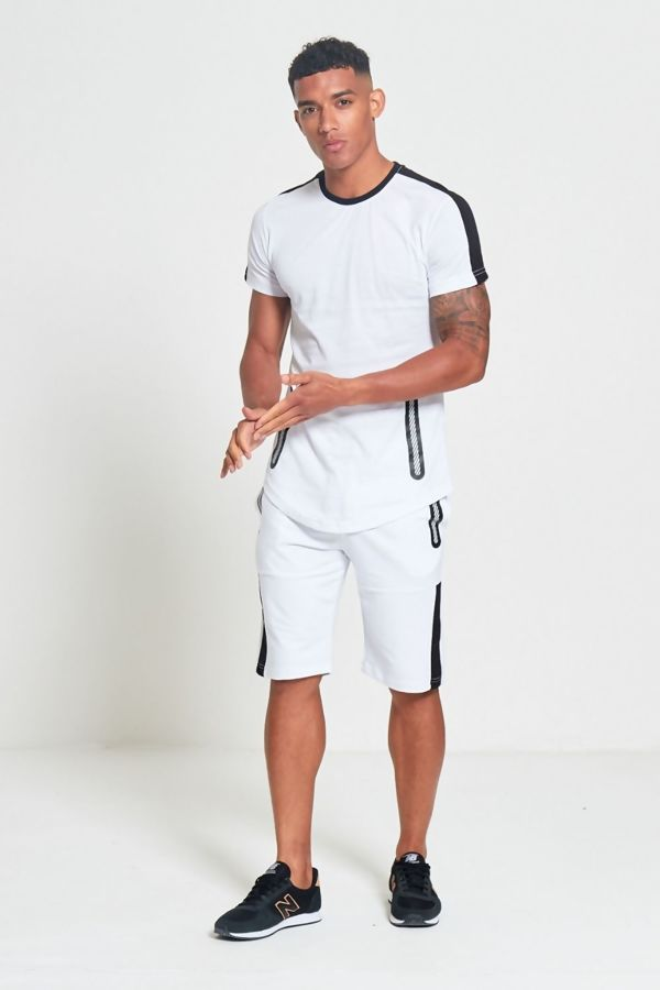 White And Black Contrast Dip Hem T-Shirt and Short Set