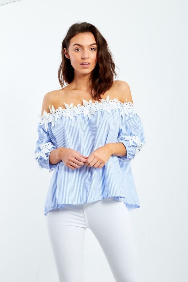 White And Blue Striped With Crochet Lace Bardot Top