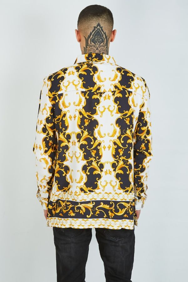 White Baroque Print Shirt