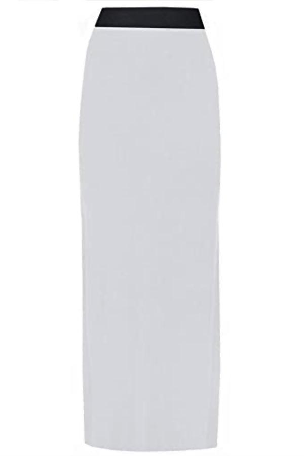 White Basic Contrast Waist Jersey Maxi Skirt