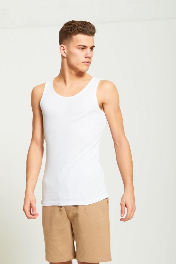 White Basic Ribbed Vest
