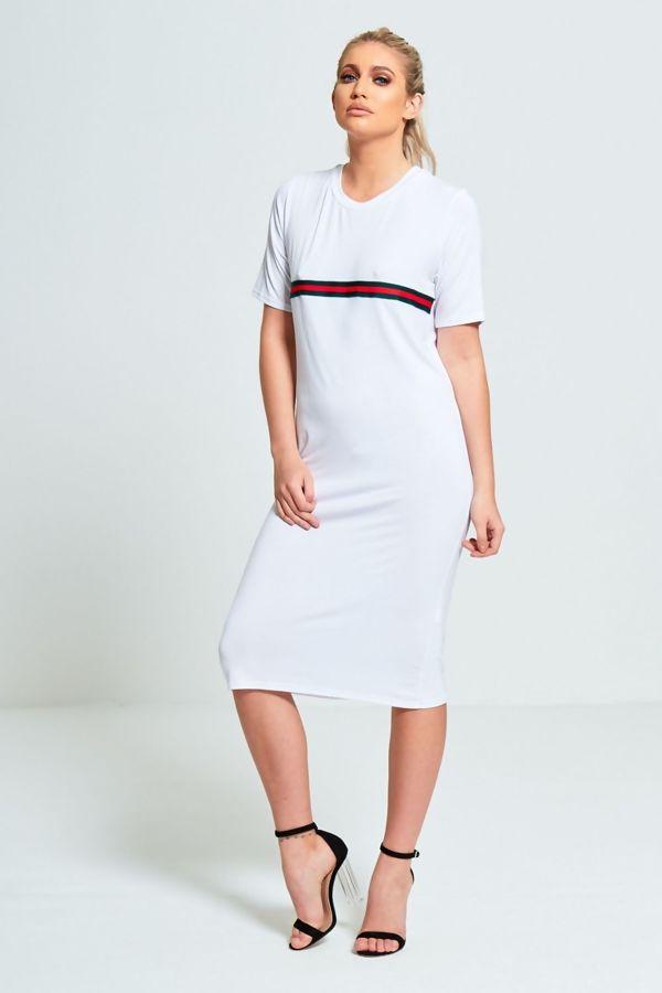 White Basic Striped T-Shirt Dress