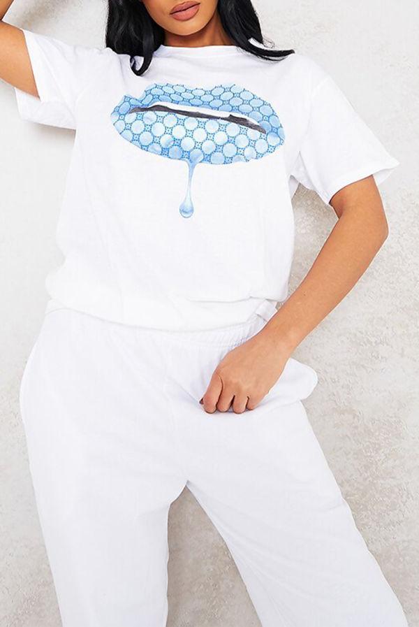 White Blue Monogram Lips Oversized Tee