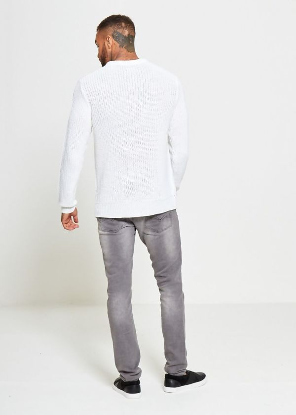 White Braid Knit Long Line Jumper
