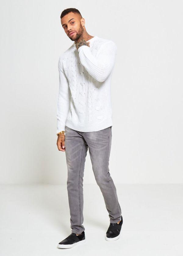 White Braid Knit Long Line Jumper