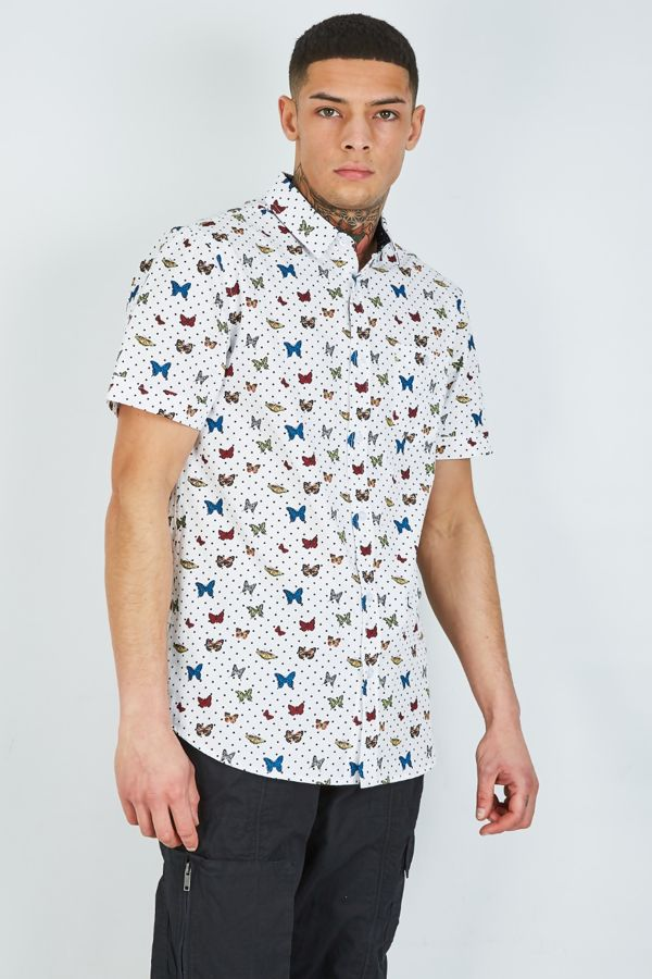 Navy Butterfly Half Sleeve Printed Shirt