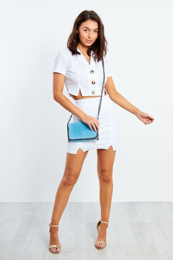 White Button Up Shirt with Skirt Co-ord Set