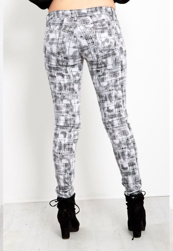 White Check Skinny Fit Jeans