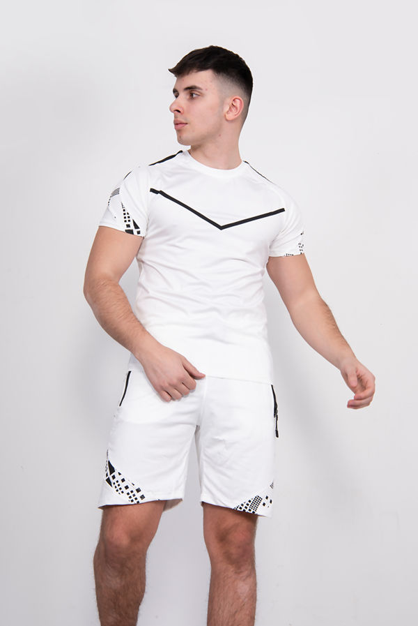 White Chevron Contrast Print T-Shirt And Short Set