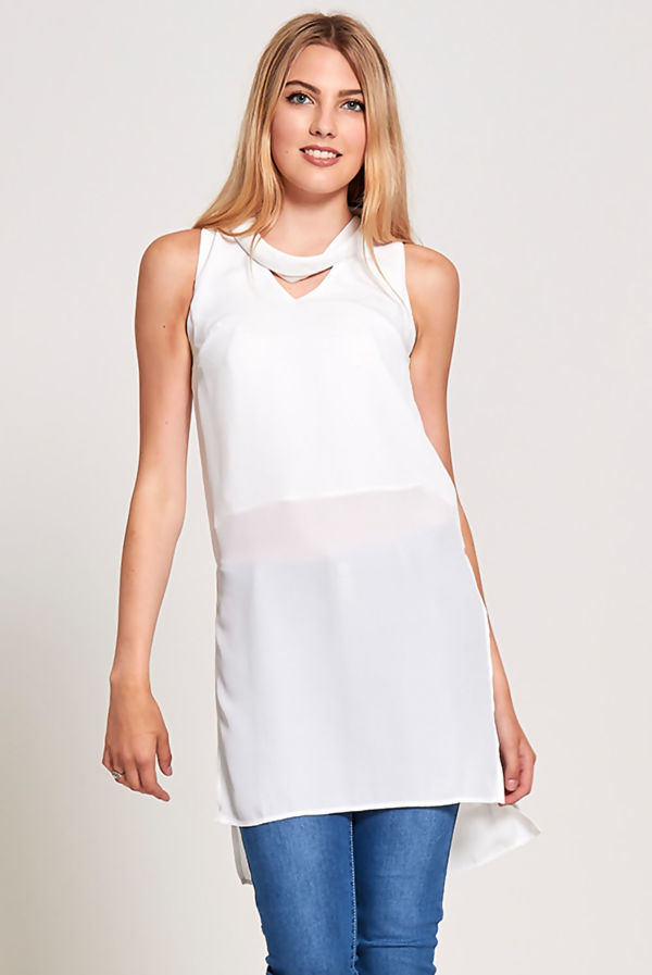 White Choker Neck Longline Top