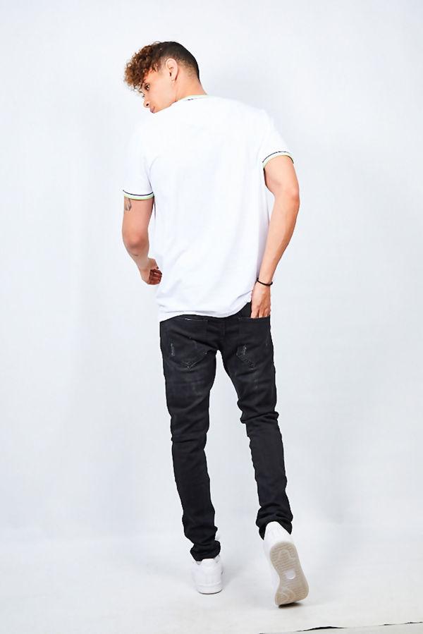 White Contrast Sports Stripe Rib Detail T-Shirt