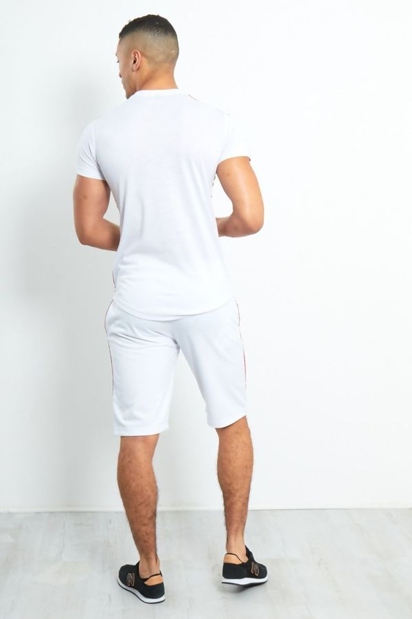 White Crew Contrast Tape Short Tracksuit