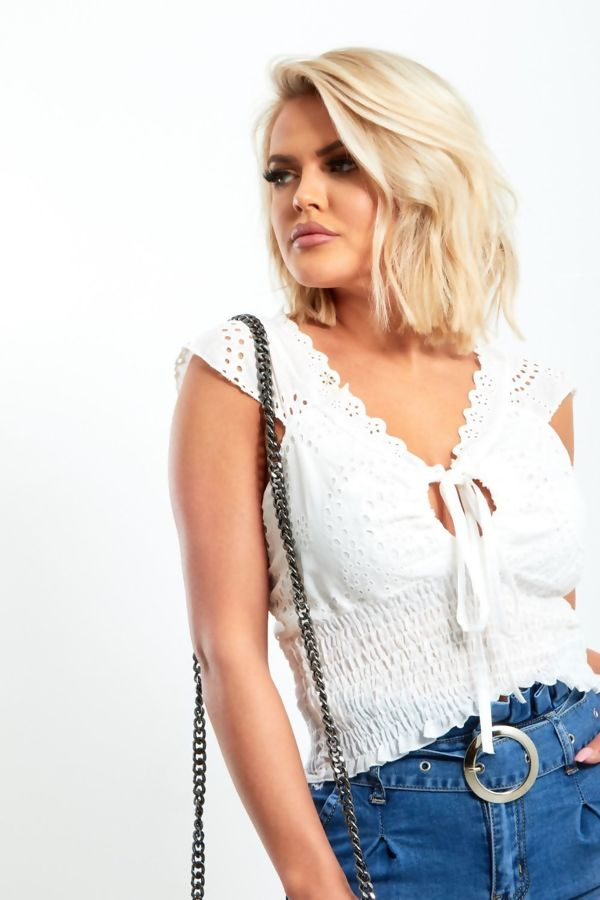 White Crochet Lace Up Top