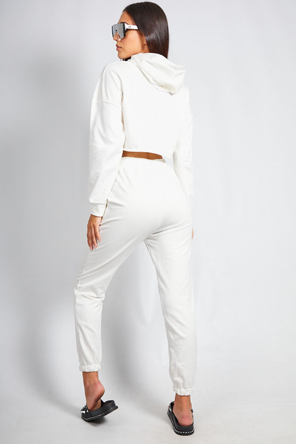 White Crop Top Hooded Co Ord Set