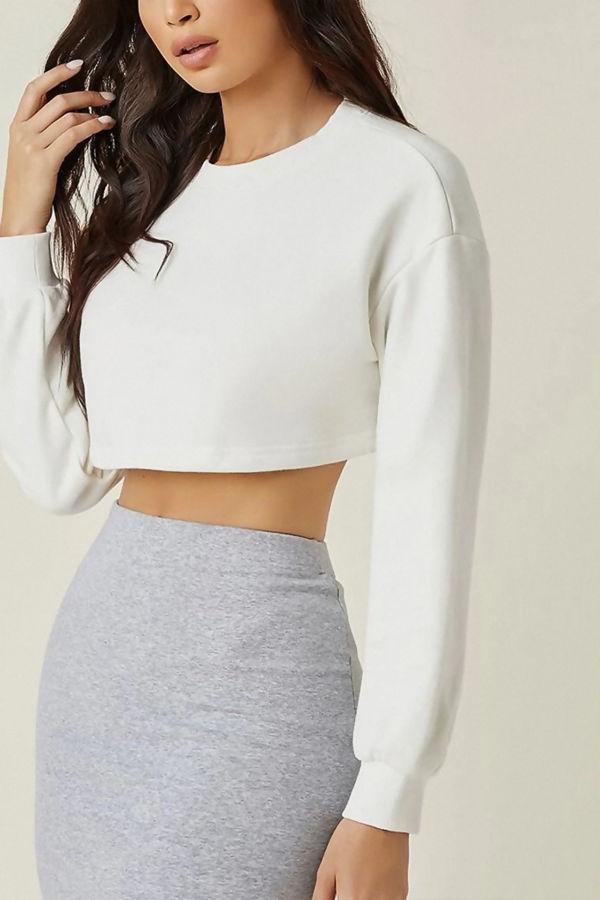 White Cropped Oversized Sweatshirt
