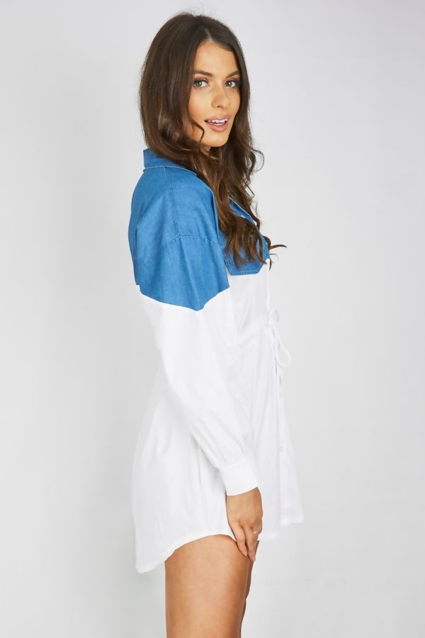 White Denim Contrasted Slouchy Shirt Dress